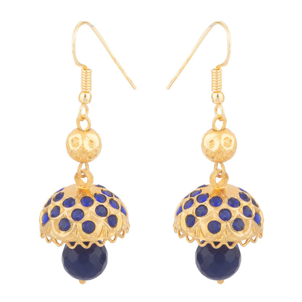 Blue Umbrella Beaded Earrings