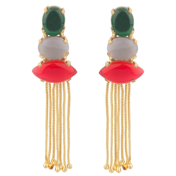 Green Grey and Red Long Dressy Earrings