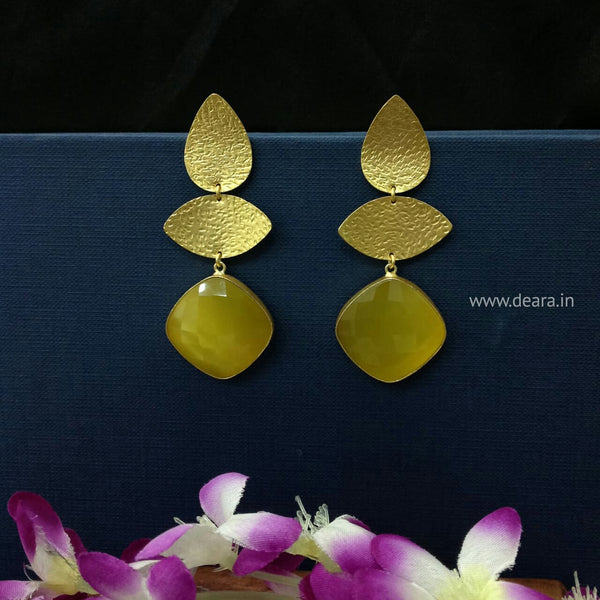 Delightful Green Golden Long Earrings