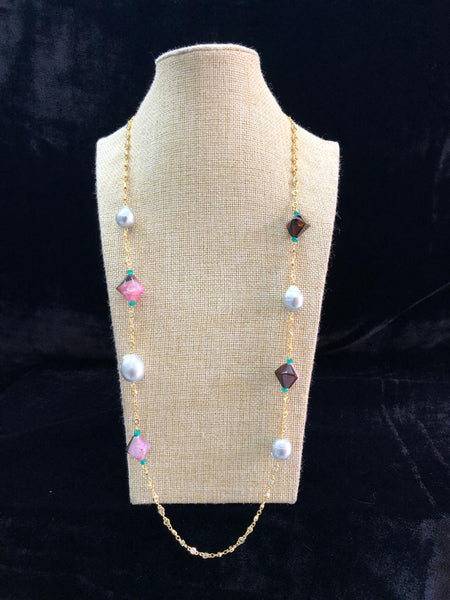 Multicolour Hexagon Gemstone Silver Pearl Chain Necklace