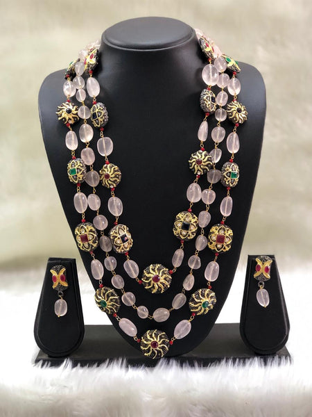 Graceful Pastel Pink Intriguing Gemstones Necklace Set