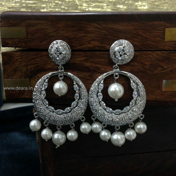 Silver Finish Long Chandbali Earrings