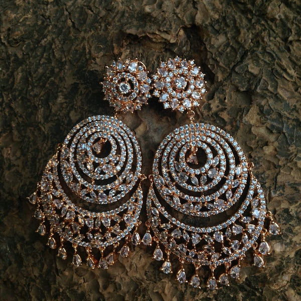 Spherules of Rose Gold Crystal Chandbali Long Earrings