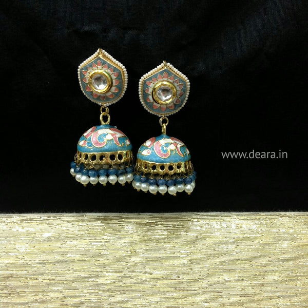 Tiffany Blue Enamel Jhumka Earrings