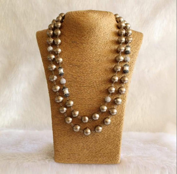 Ornamental Brown Gemstone Beads and Pearls Necklace