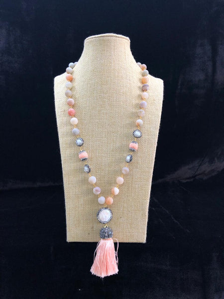 Rose Almond Coral Pink Tassel Necklace
