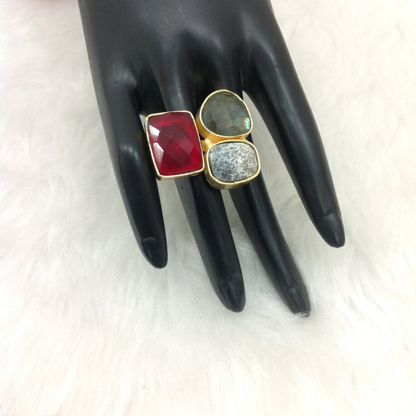 Red Grey Rustic Beauty Ring