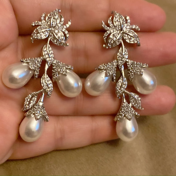 Flower Blossom Zircon Pearl Earrings