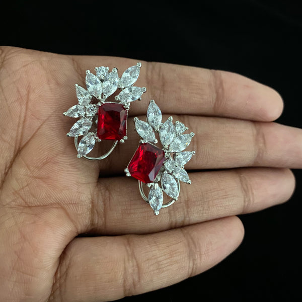 Red Rose Zircon Earrings
