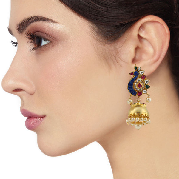 Blue Gold Peacock Jhumka Earrings