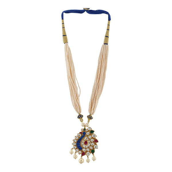 Semi precious stones and Kundan studded Gold Peacock with Multi-layer Pearl Strands Necklace Set