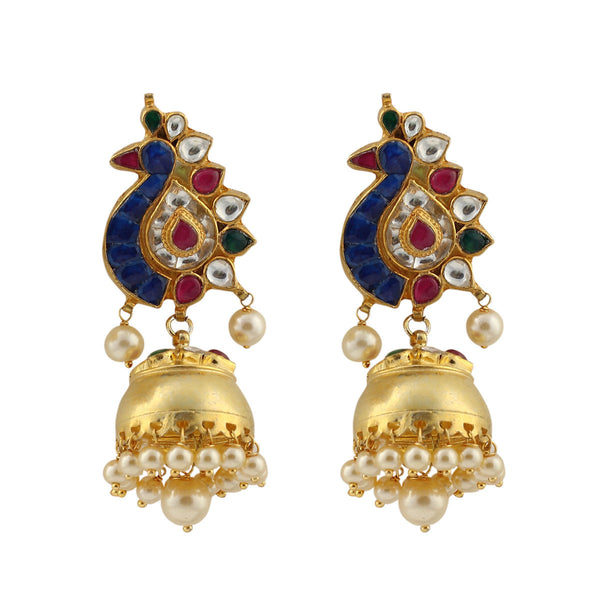 Blue Gold Peacock Long Jhumka Earrings