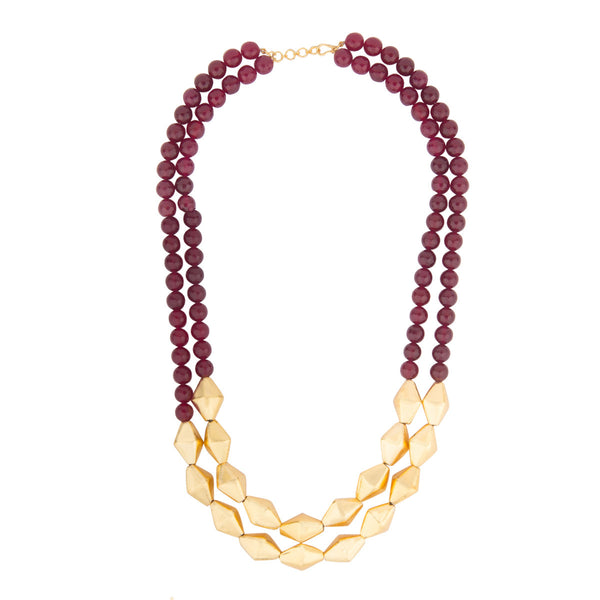 Maroon and Gold long Necklace