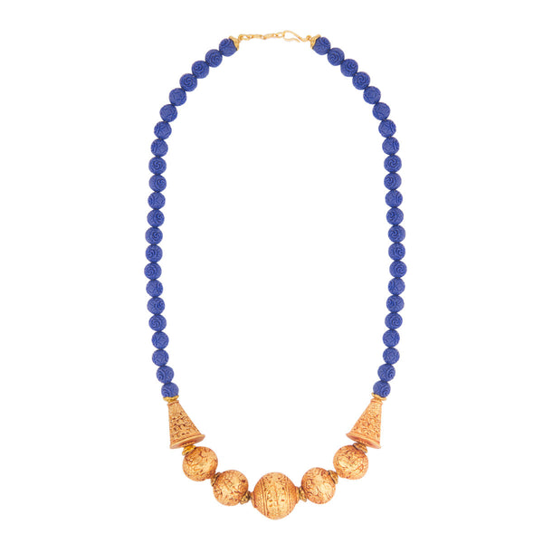 Blue and Gold Geru Temple Necklace