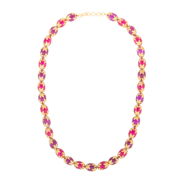 Violet Pink Enamel Necklace