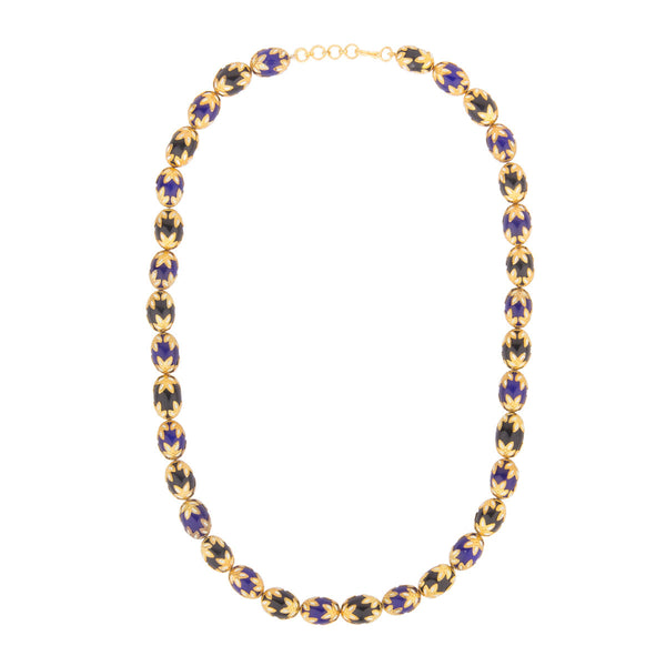 Fancy Ethnic Blue and Black Necklace