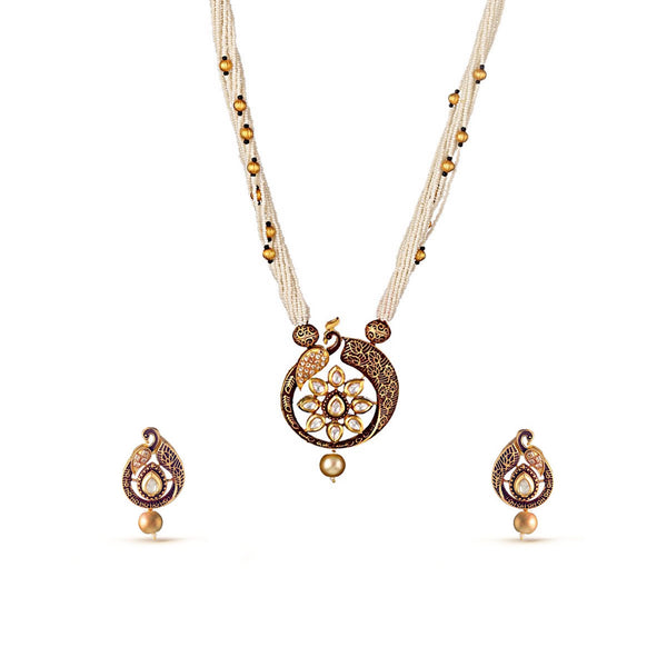 Multi Stranded Peacock Kundan Pendant Drop Necklace Set