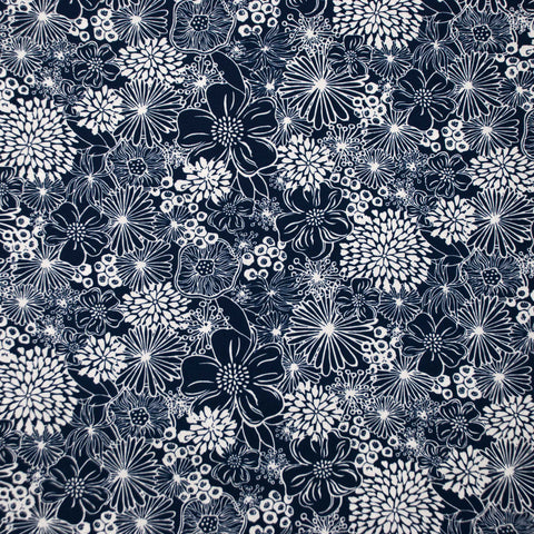 Navy and Cream Floral Poplin - 85 cm Remnant