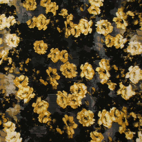 Sample of Yellow, Black and Grey Floral Poly Crepe