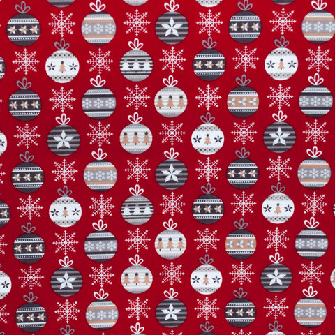 Red Christmas Baubles Cotton Broadcloth - 40 cm Remnant