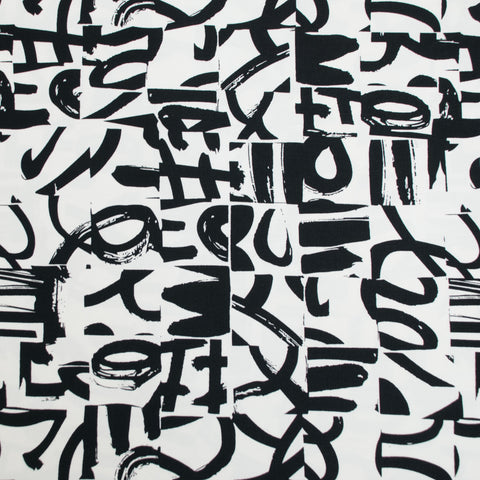 Black and White Graffiti Sateen - 71 cm Remnant