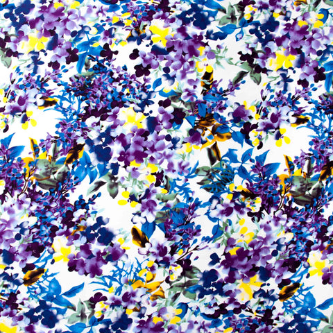 Sample of Purple Floral Sateen