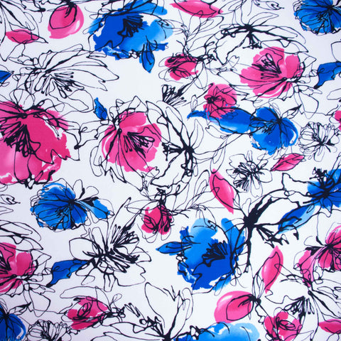 Pink and Blue Floral Poly Jersey - 34 cm Remnant