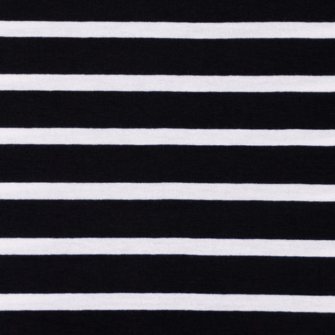 Black and Cream Striped Viscose Jersey - 52 cm Remnant