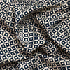 Navy and Cream Geometric Print Linen-Look Cotton