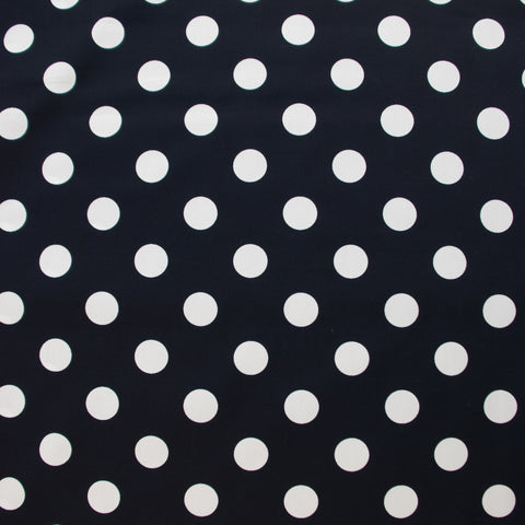 Sabine White on Navy Large Polkadots Poplin