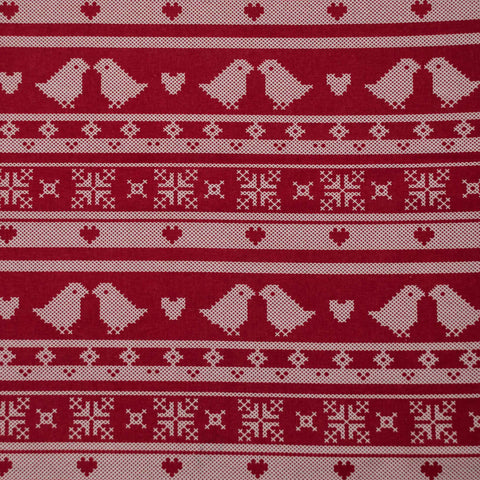 Birds, Hearts and Snowflakes Cotton Broadcloth - 25 cm Remnant