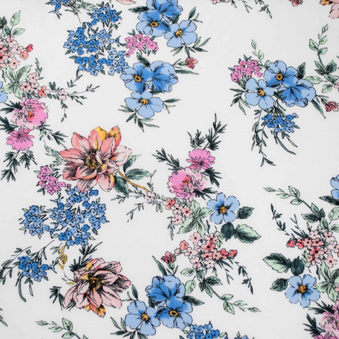 Watercolour Floral Viscose Challis - 44 cm Remnant