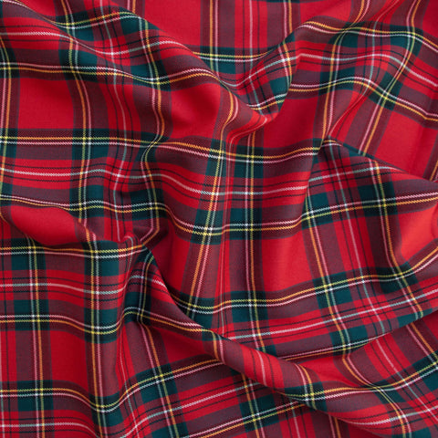 Red Poly-Viscose Plaid - 45 cm Remnant (Small Flaw)