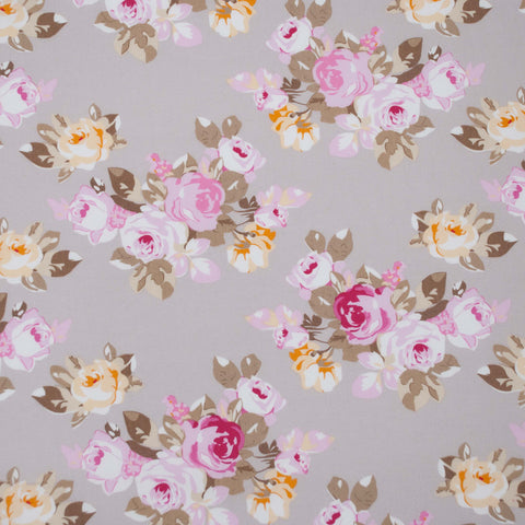 Pink, Yellow and Beige Posy Cotton Poplin - 133 cm Remnant