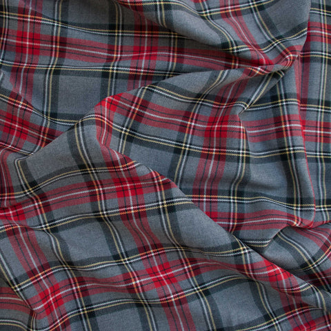 Light Grey and Red Poly-Viscose Plaid - 1 m Remnant