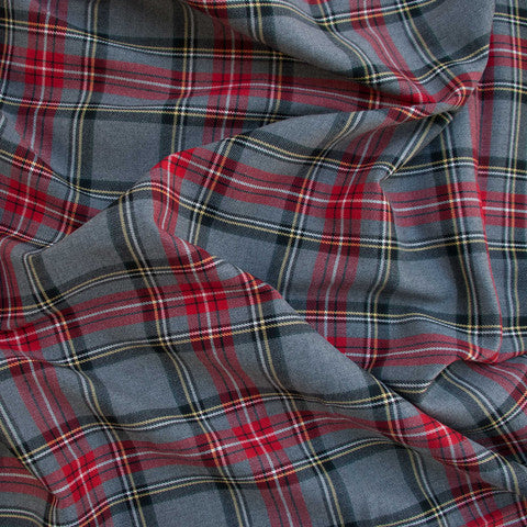 Sample of Light Grey and Red Poly-Viscose Plaid