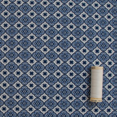 Sample of Sabine Blue Tile Poplin