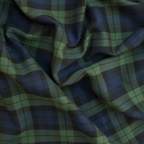 Navy and Green Poly-Viscose Plaid - 25 cm Remnant