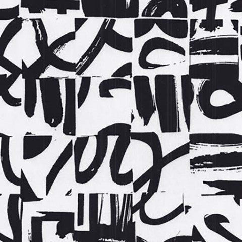 Sample of Black and White Graffiti Sateen