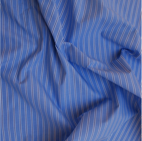 Blue, Navy and White Striped Shirting
