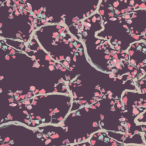 Sample of AGF Enchanted Leaves Plum Voile