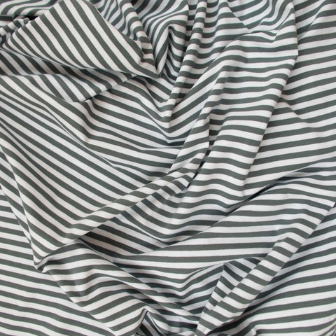 Sample of Grey and White Striped Organic Cotton Jersey
