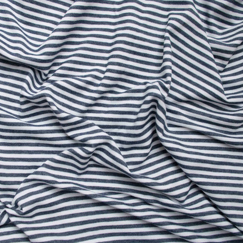 Sample of Navy and White Striped Cotton Jersey