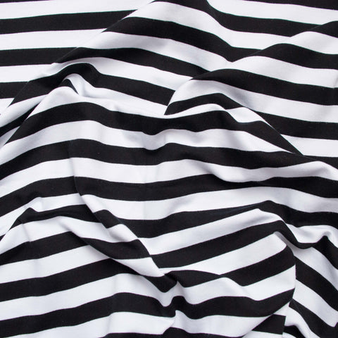 Sample of Black and White Striped Organic French Terry