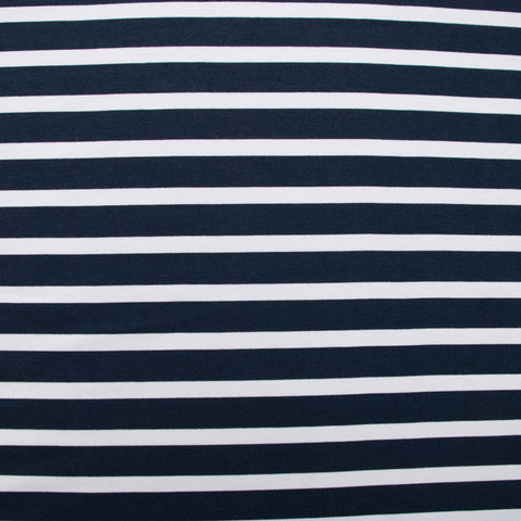 Navy and White Striped Viscose Jersey - 50 cm Remnant