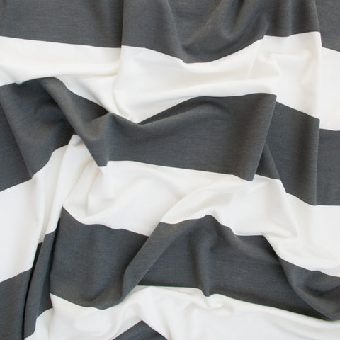 Cream and Grey Striped Cotton Jersey - 34 cm Remnant