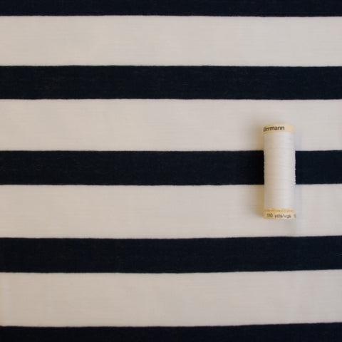 Sample of Navy and Cream Striped Slubbed Viscose Jersey