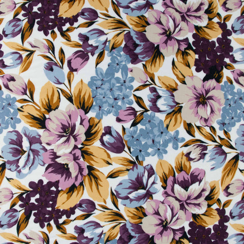 Sample of Floral Cotton-Viscose Jersey