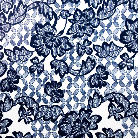 Navy and Cream Stylised Floral Poplin