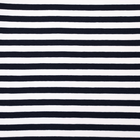 Sample of Vivianne Navy and White Striped Cotton Jersey
